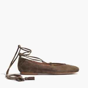 Madewell Suede Lace Up Flats in Darkest Olive